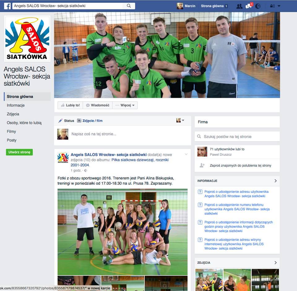 Sekcja piłki siatkowej na Facebooku